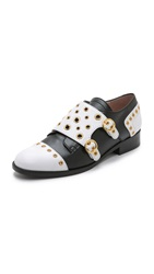 Boutique Moschino Leather Oxfords Black White