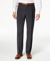 Haggar Classic Fit Eclo Stria Double Pleated Dress Pants Med Grey