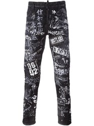 Dsquared2 Graffiti Slim Fit Jeans Black