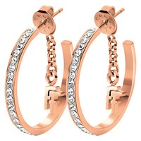 Folli Follie Match And Dazzle Crystal Small Hoop Earrings Rose Gold