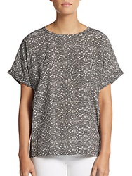 Vince Pathways Silk Geo Print Top Black