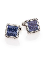 John Hardy Classic Chain Enamel And Sterling Silver Cuff Links Silver Blue