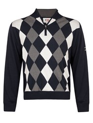 Cutter And Buck Zip Neck Argyle Lined Sweater Navy