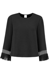 Iris And Ink Melissa Organza Paneled Fringed Crepe Top Black