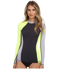Rip Curl Surf Session Long Sleeve Heather Sunny Lime Women's Swimwear Gray