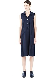 Marvielab Wool Sleeveless Shirt Dress Navy