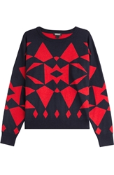 Dkny Wool Blend Graphic Print Sweater