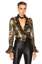 Roberto Cavalli Printed Blouse In Metallics Abstract Metallics Abstract