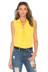 Frame Denim Le Sleeveless Button Up Yellow