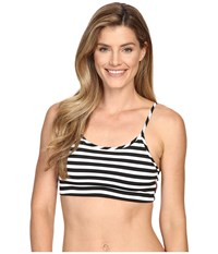 Hard Tail Sexy Scoop Bra Black White Supplex Stripe Women's Bra
