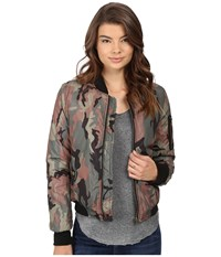 Brigitte Bailey Crazy Eights Flight Jacket Camo Women's Coat Multi