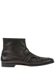 Santoni Leather Monk Strap Ankle Boots