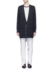 Helmut Lang Button Ribbon Wool Cashmere Cardigan Grey