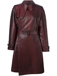 Jean Paul Gaultier Vintage Crocodile Print Trench Coat Red