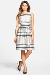 Hugo Boss 'Diljana' Stripe Fit And Flare Dress Black