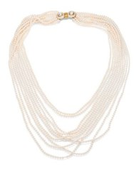 Oscar De La Renta Multi Strand Faux Pearl Necklace White