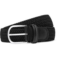Andersons 3.5Cm Black Leather Trimmed Woven Elasticated Belt