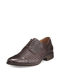 Neiman Marcus Anzio Woven Leather Oxford Dark Brown