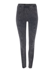 Label Lab Acid Wash Biker Leggings Charcoal