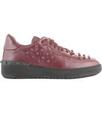 Valentino Rock Be Leather Trainers Red