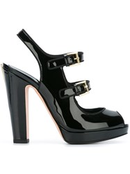 Alexander Mcqueen Double Buckle Sandals Black