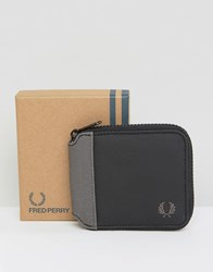 Fred Perry Coated Cotton Zip Around Wallet Black