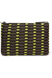 M Missoni Metallic Crochet Knit Clutch Purple