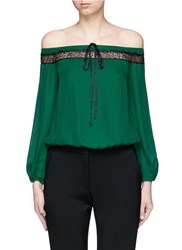 Alice Olivia 'Esmeralda' Lace Insert Off Shoulder Silk Top Green