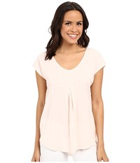 Mod O Doc Supreme Jersey Short Sleeve Tee With Contrast Panel Ballerina Women's Blouse Pink