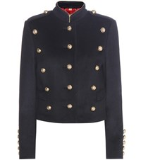 Burberry Dunebeck Wool And Cashmere Jacket Blue