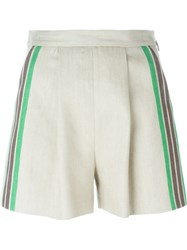 Msgm Stripe Detail Shorts Nude And Neutrals