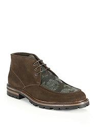 Aquatalia By Marvin K Waxed Suede Lace Up Boots Brown Camo