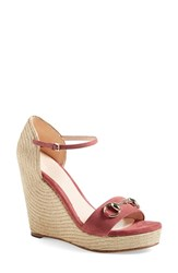 Women's Gucci 'Carolina' Ankle Strap Wedge Rose Suede