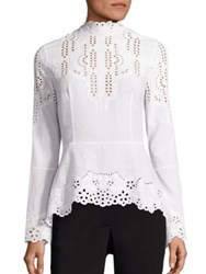 Yigal Azrouel Embroidered Cotton Blouse Optic