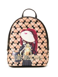Love Moschino Small Printed Backpack Black