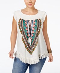 American Rag Plus Size Printed Fringe Top Only At Macy's Alahambra Combo
