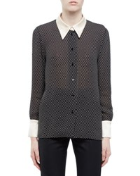 Saint Laurent Mini Star Dot Blouse W Contrast Collar And Cuffs Black White
