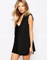 Mango Sleeveless Blazer Black