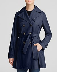 Laundry By Shelli Segal Coat Double Breasted Button Front Trench Navy