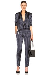 Anthony Vaccarello Long Sleeve Jumpsuit In Blue Stripes