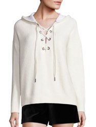 Alice Olivia Louanne Long Sleeve Lace Up Hoodie Off White Charcoal