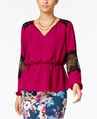 Thalia Sodi Lace Trim Peasant Top Only At Macy's Violet Berry