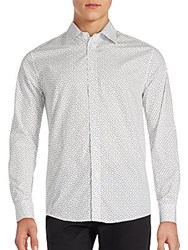 Ben Sherman Mini Square Cotton Button Down Shirt Bright White