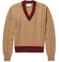 Gucci Slim Fit Striped Cable Knit Wool Sweater Brown
