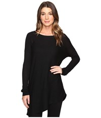 Splendid Asymmetrical Hem Pullover Black Women's Long Sleeve Pullover