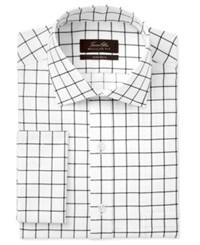 Tasso Elba Men's Classic Regular Fit Black White Windowpane French Cuff Dress Shirt Only At Macy's