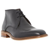 Bertie Condor Contrast Stitch Leather Chukka Boots Black