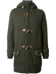 Bark Hooded Toggle Button Coat Green