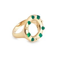 Kinnari Gold Crown Cocktail Ring With Agate Gold Green
