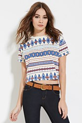 Forever 21 Tribal Inspired Print Tee Cream Multi